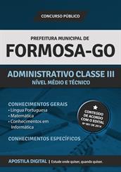 Apostila Digital Prefeitura de Formosa-GO - Administrativo Classe lll
