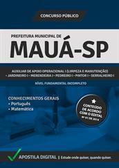 Apostila Concurso Prefeitura de Mauá-SP 2014 - Cargos de Nível Fundamental Incompleto - Grátis Simulados Online