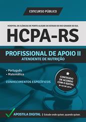 Apostila Digital HCPA-RS - Profissional de Apoio ll - Atendente de Nutrição - Grátis Simulados Online