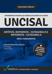 Apostila Digital UNCISAL-AL - Artífice, Motorista - Categoria D e A - Grátis Simulados Online