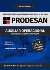 Apostila Digital PRODESAN-SP - Auxiliar Operacional - Grátis Simulados Online